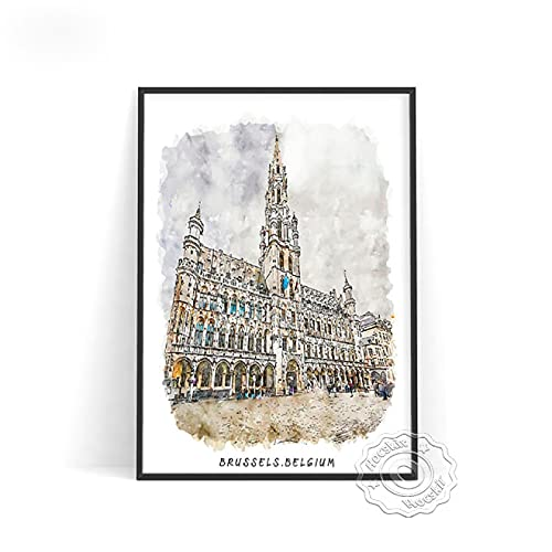 lubenwei Watercolour World City Travel Poster London Brussels Japan Rome Wall Pictures Germany Belgium Italy Print Art Home Decor (AU-1242) 50x70cm No frame