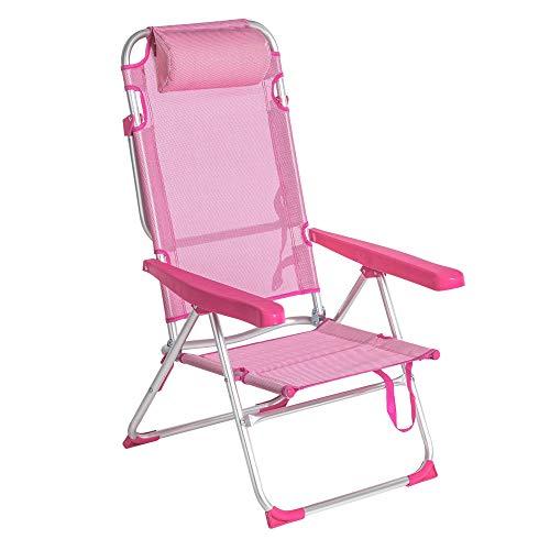LOLAhome Silla de Playa 4 Posiciones con cojín y de Aluminio (Rosa)