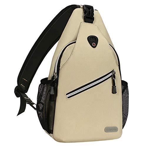 MOSISO Brusttasche Sling Rucksack Schultertasche, Polyester Crossbody Umhängetasche Sporttasche Kompatibel Herren Damen Mädchen Jungen Reise Daypack, Beige