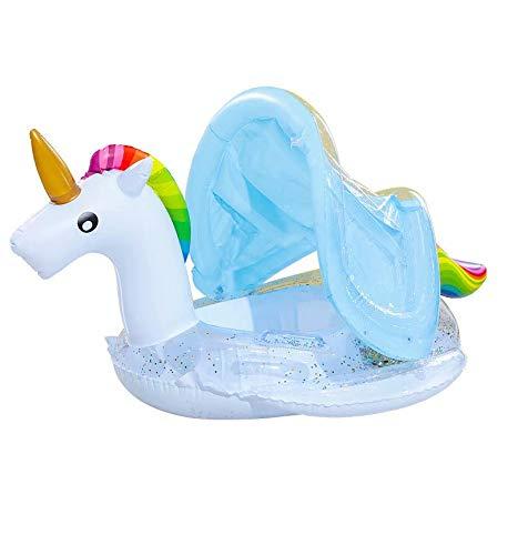 HANBIN con toldo Flotador de natación Inflable de Unicornio Flotador de Asiento de bebé Unicornio Summer Water Fun Pool Anillo de natación Flotador de Piscina para bebé Unicorn