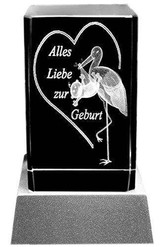 Kaltner Präsente Sfeerlicht – het perfecte cadeau: led-kaars/kristal glazen blok/3D-lasergravure felicitatiekaart verjaardag storch alles liefde voor geboorte verjaardag