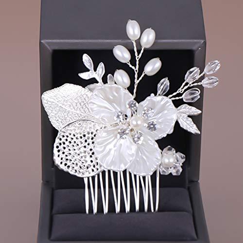 Peineta para el pelo simple perla artificial peineta tejida a mano con hojas flor, tocador, novia boda tiara joyas
