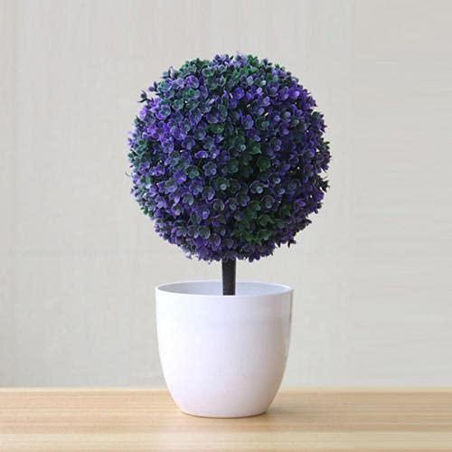 QIFFIY Árbol artificial artificial en maceta con forma de bola de bonsái para árbol pequeño, plantas falsas, plantas, jardín, escritorio, alféizar de ventana, árbol de simulación (color: púrpura)