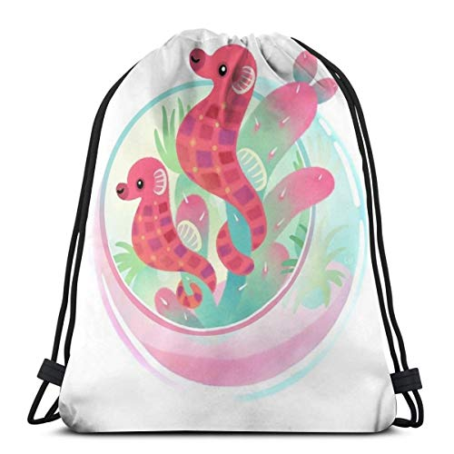 Ocean Terrarium - Sea Horse Trekkoord Rugzak Trekkoord Tas Tas Sling Bag Sporttas, Geschikt voor School Gym Trip