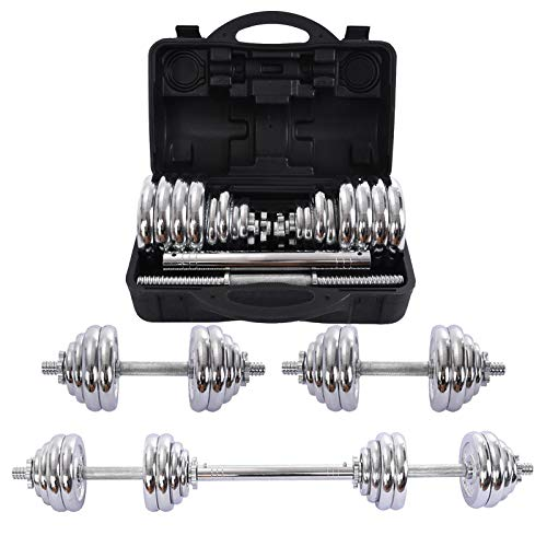 Adjustable Fitness Cast Iron Dumbbells Set, 66Lbs/110Lbs Dumbbells Barbell Weight Set with Connecting Steel Rod, Home Gym Exercise Workout Strength Training Equipment for Men and Women (30kg / 66Lbs)