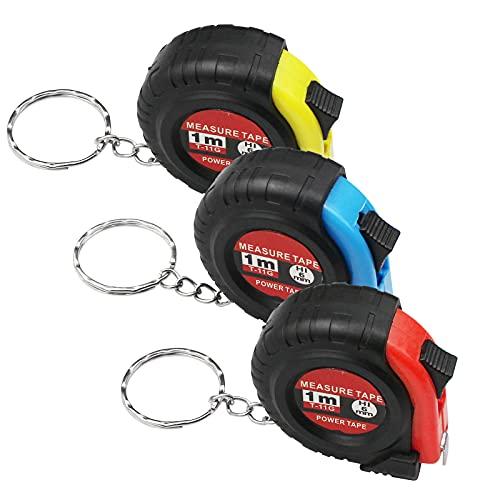 Mobci 3 Stück Retractable Maßband 3FT/1M, Kleines Bandmaß Mit Schlüsselanhänger, Mini Maßband mit Metrische und Zoll-Skala(3 Farben)