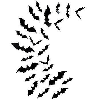 Halloween Bats Wall Decor Fntacetik 60 Pcs Bats Halloween Decorations Window Clings Wall Decals 3D Bat Cutouts Wall Stickers Halloween Decor Party Supplies 4 Sizes Black