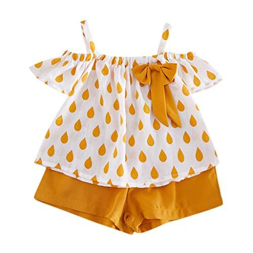 XLGX Toddler Kids Bébé Filles Outfits Vêtements de Tout-Petit Été Mélange De Coton Raindrop Print Floral Gilet+Shorts Pantalons Ensembles de Fille,2-7 Ans (90, Jaune)