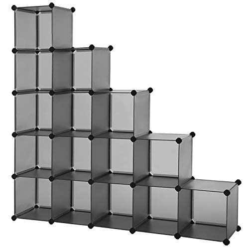 SONGMICS Scaffale a 16 Cubi, con Sistema Fai-da-Te, Organizzatore Stabile in Plastica PP, Guardaroba, Divisori per Armadio, Scarpiera, per Camera da Letto, Ufficio, Grigio LPC442G01