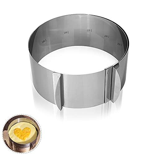 YOUYIKE Tortenring mit 2 Griffen 16 bis 30 cm,8,5 cm Höhe verstellbar Kuchenringe Edelstahl Rahmen Backformen Torte geeignet für Backen (Stainless Steel Cake Rings)