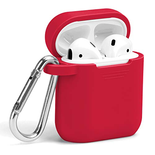 GMYLE Airpods Case Cover with Keychain, Silicone Full Protective Wireless Charging Airpods Earbuds Case Cover Skin Accessories kit Set Compatible for Apple AirPods 2 & 1 – True Red
