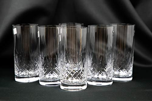 Crystal Glass Highball Tumblers 11oz. Set of 6 Cocktail Mixed Glasses Old Fashioned Style Bohemia Czech Home Decor Gift Wedding Birthday Housewarming Anniversaries