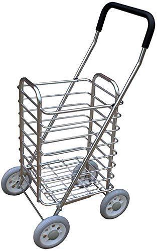 ShiSyan Lightweight Shopping Trolley Mobility Cart 4 Wheel Folding- Silver