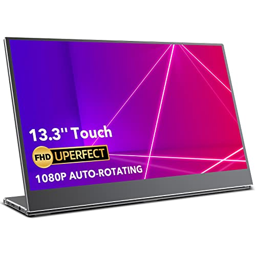 Portable Monitor Touchscreen, UPERFECT Gravity Sensor Automatic Rotate 13.3'' Slimmest 10-Point Touch FHD 1920x1080 Dual USB C Monitor Bracket Integrated & Frameless Bezel Glass HD Laptop Display