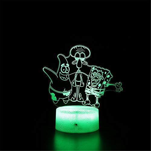 Bob Esponja Patrick Star 3D luz nocturna USB dormitorio decoración Iluminación 16 colores cambiantes Touch lámpara de escritorio para niños cumpleaños regalos de Navidad