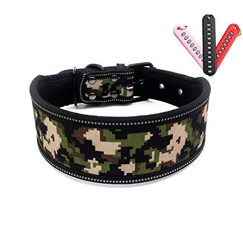 Elegel Collares de Perros Tela Estampada Ancha para Grandes Mediano pequeños Cuello Ajustable con Colgante número DIY 11 Colores 3 tamaños