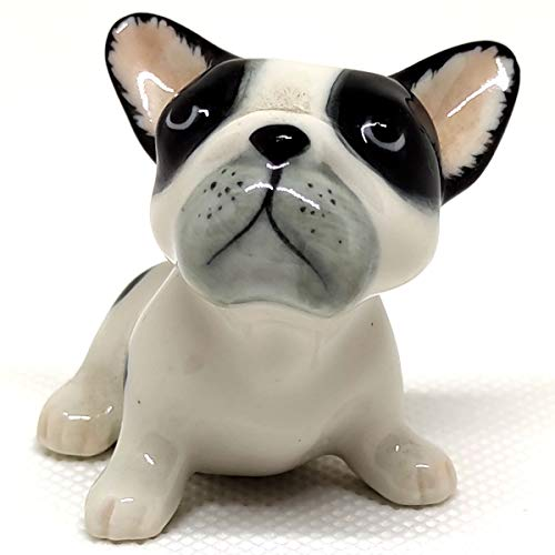 SSJSHOP French Bulldog Dollhouse Miniature Figurines Hand Painted Ceramic Animals Collectible Dog Lover Gift Home Decor, B&W#1 Sit