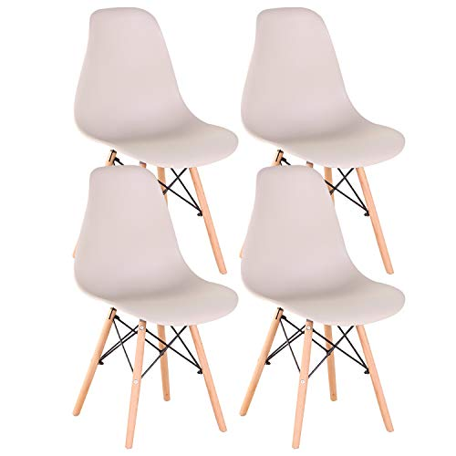 INJOY LIFE - Sillas de comedor modernas de mediados de siglo, sillas de plástico estilo retro, sillas laterales para cocina, salón comedor, juego de 4, color caqui