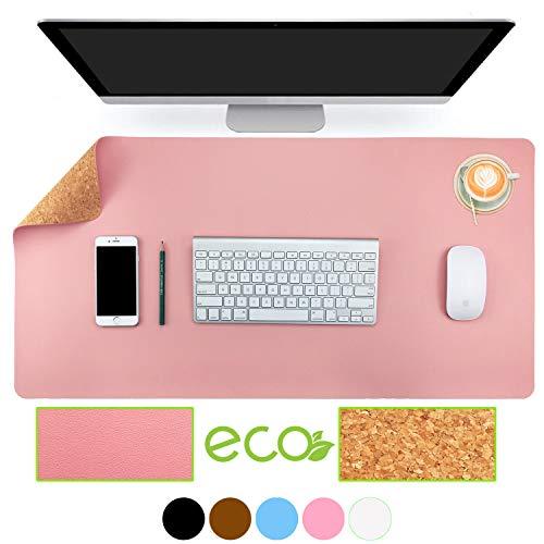 Almohadilla de escritorio de oficina de doble cara de corcho y cuero ecológico Aothia, alfombrilla de ratón, protector de escritorio para oficina/juegos en el hogar 80*40 cm(Rosa)