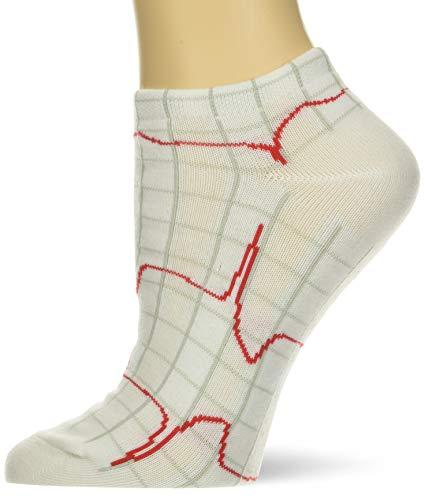 NCD Medical/Prestige Medical 377 Nurse's Fashion Socks, weiß, Herzschlag EKG