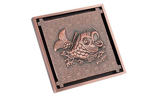 Antik brons golvavlopp 10 cm mässing Vintage karp som hoppar över Dragon Gate snidad dusch markavlopp med avtagbart täckfilter Filteravlopp Ren för badrumsrum