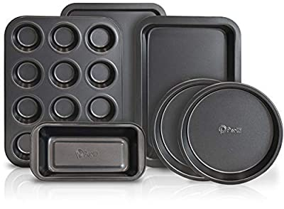 PERLLI 10-Piece Non-Stick Bakeware Set, Includes Oven Crisper, Pizza Tray, Roasting, Loaf, Muffin, Square, 2 Round Cake Baking Pans, Large and Medium Nonstick Cookie Sheet & Microfiber Cleaning Cloth