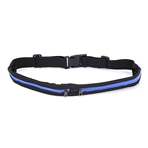Doble bolsillo Running cinturón deportes y viajes Fanny Pack para hacer footing, ciclismo y al aire libre con resistente al agua bolsillos, Azul Royal