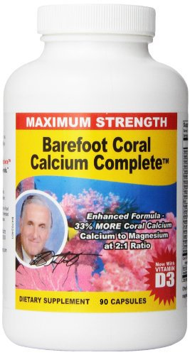 Barefoot Coral Calcium Complete 1500mg, 90 Capsules- Coral Calcium Supplement Developed by Bob Barefoot- Supports Bone Health & PH Levels- Contains Calcium, Magnesium, & Vitamins