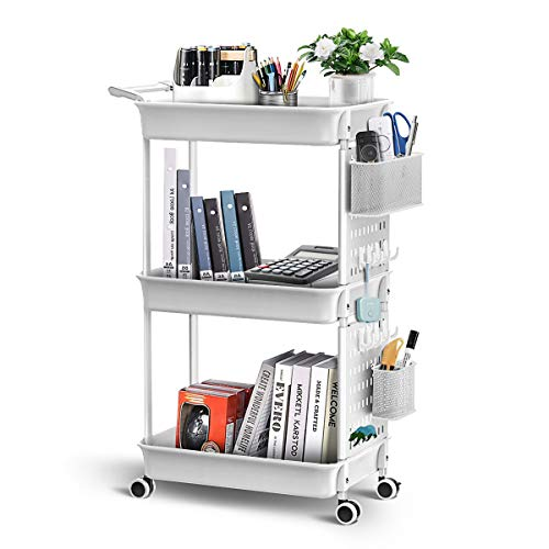 ADOVEL 3 Tier Rolling Cart Utility Carts with Wheels Removable Storage with DIY Pegboard Trolley Organizer for Craft Books Art Salon Office  White