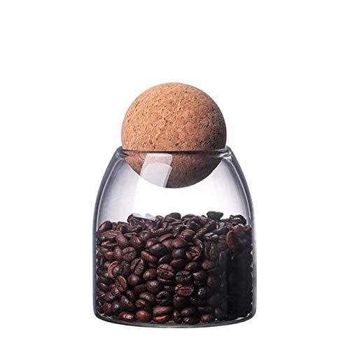 PPuujia Jarra de Vidrio Vidrio Sellado Lata de Almacenamiento Caja Caja de Botella Recipiente Corcho Redondo para Granos de café Cocina (Color : 500mL)