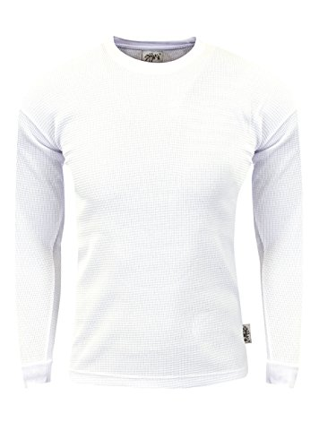 Fitscloth Men's Knit Sweater Pullover - Heavyweight Waffle Thermal T Shirt Long Sleeve Crewneck Knitted Top Size TC01 White L