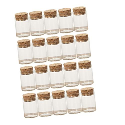BESPORTBLE 25 Unidades de Minibotellas de Vidrio con Corcho Frascos de Muestra Vacíos Pequeños Frascos de Vidrio para Manualidades Boda Navidad Comida Flor Té Fruta Seca 3X4cm