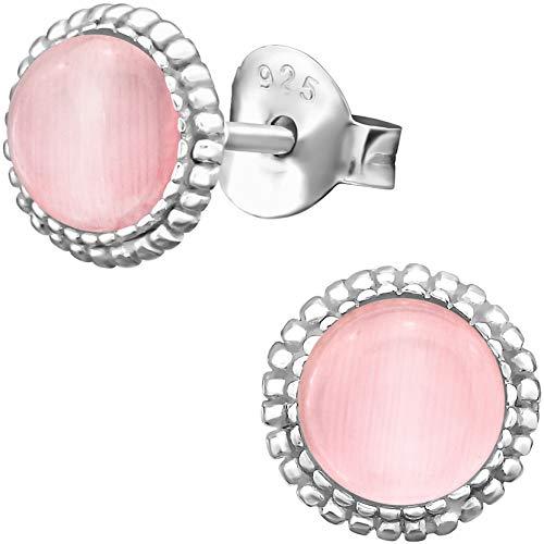 EYS JEWELRY Ohrstecker Damen rund 925 Sterling Silber Katzenauge rosa-pink Damen-Ohrringe