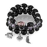 Bracelet Boho Bohemian Beads Elefantenstrang Für Frauen Herzflügel Wickel Armbänder & Armreifen Vintage Schmuck Femme Schwarz