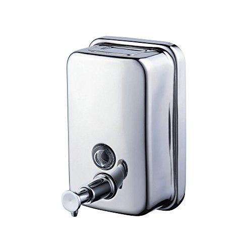 Beelee Dispensador de jabón líquido para Cocina y baño(Acero Inoxidable, Montaje en Pared), Plateado, 18oz/ 500 ML