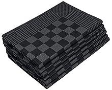 ZOLLNER 6 paños de Cocina a Cuadros, 65x65 cm, Negro, algodón