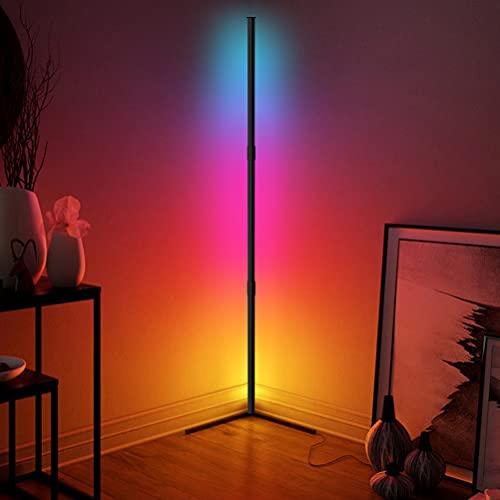 Lampara pie Led - JFIEEI 16 millones de colores de que cambia RGB, luz de esquina regulable con control remoto para lampara de pie salon moderna, dormitorios (Base en ángulo recto)