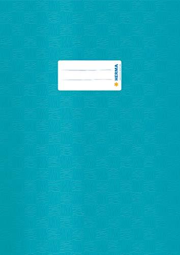 HERMA 7456 Heftumschlag DIN A4 gedeckt mit Baststruktur und Beschriftungsetikett, aus strapazierfähiger und abwischbarer Polypropylen-Folie, 1 Heftschoner für Schulhefte, türkis