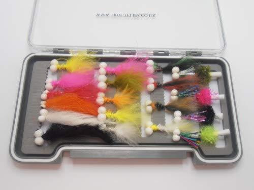 Booby Flies & Foam Ass. 24 Stück pro Box Set viele Farben & Design Fliegenfischen