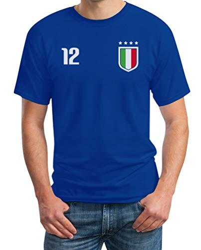 Shirtgeil Nazionale di Calcio Italiana - Italia Squadra Azzurra Maglietta da Uomo Large Blu
