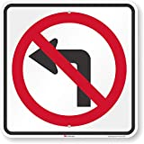 SmartSign 'No Left Turn' Sign | 18' x 18' 3M Engineer Grade Reflective Aluminum