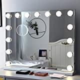 Fenair Makeup Mirror with Lights and Magnification USB Outlet Hollywood Vanity Mirror, 3 Color Modes Cosmetic Mirror, Frameless Tabletop Mirror with Smart Touch Control, 15 Dimmable Bulbs (White)
