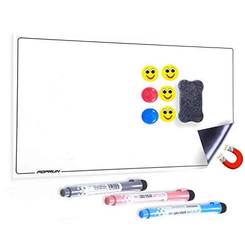 POPRUN Magneetbord voor de koelkast, magnetische voedselplanner, afwasbaar, weekplanner, whiteboard-planner voor boodschappenlijstje, schoonmaakplanner, keuken, 43 x 28 cm