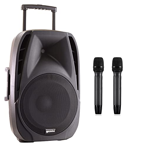 Gemini Sound ES-15TOGO Wireless Portable Bluetooth Streaming Professional DJ PA System Trolley Active Loudspeaker with Dual Mic Jacks SD Card and USB Port with 2 Wireless Mic Bundle