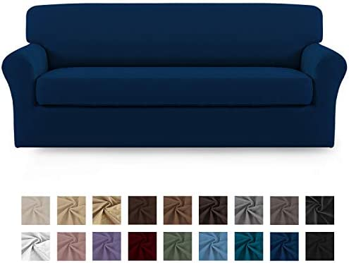 Best Easy-Going 2 Pieces Microfiber Stretch Sofa Slipcover – Spandex Soft Fitted Sofa Couch Cover, Wash