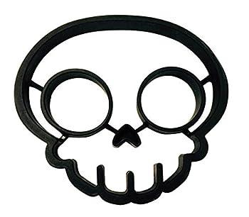 Cherion Silicone Egg Mold Ring,Black Skull Shaped Egg Ring Skull Mold Set of 2
