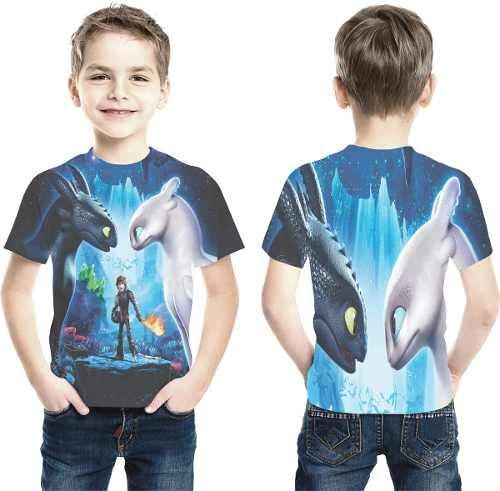 Camiseta Como Treinar Seu Dragão 3 Estampa Total Infantil