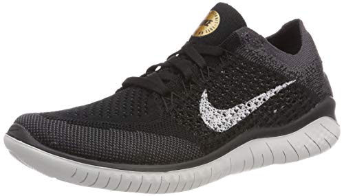 Nike Women's WMNS Free Rn Flyknit 2018 Competition Running Shoes, Multicolour (Black/Vast Grey/Metallic Gold 005), 6 UK