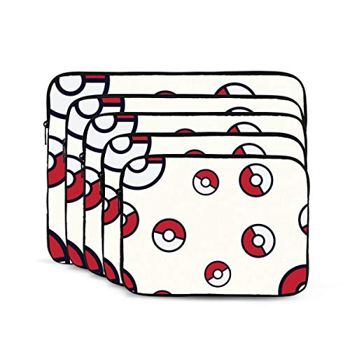 KUUDJIT Pokemon Go Pokeball 12/13/15/17 Inch Laptop Sleeve Bag for MacBook Air 13 15 MacBook Pro Portable Zipper Laptop Bag Tablet Bag,Diving Fabric,Waterproof