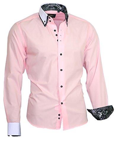 Binder de Luxe Herren Herren Hemd modern fit Doppelkragen 717 rosa 40